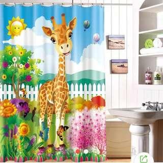 Cartoon giraffe waterproof shower curtain