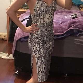 Summer bodycon midi cheetah dress low back size 6-8