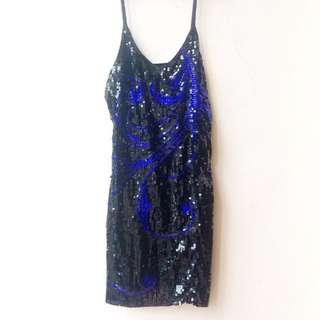 Black and Royal Blue Sequin Slip Dress