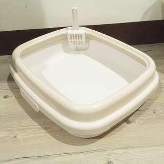 日本Richell《卡羅圓弧造型單層貓便盆》S號 - 米色 貓砂盆