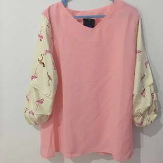 Flamingo Ruffle Sleeve