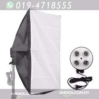 In-Stock✔Studio Lighting-50*70cm Softbox Light + 4 Socket E27 Lamp Holder Kit Photo Video