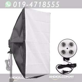 In-Stock✔Studio Lighting-50*70cm Softbox Light + 4 Socket E27 Lamp Holder Kit Photo Video