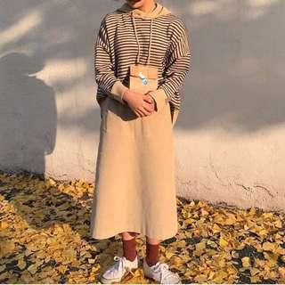 韓國網站拍賣-條紋帽T上衣