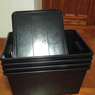 Ikea samla黑色膠箱4個