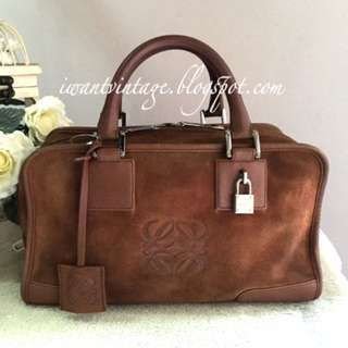 Loewe Suede Amazona Bag -Brown