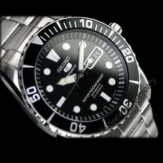 有門市保用 信心保證 SEIKO AUTOMATIC watch 精工黑色錶面潛水機械手錶 SNZF17K1