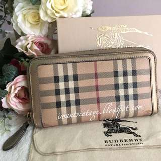 Burberry Haymarket Check Zip Around Wallet-Gold
