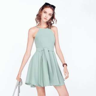 BNWT Anabella Pocket Sash Dress Seafoam