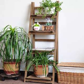 4 Tier brown ladder shelving foldable