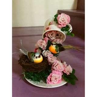 Handmade Floating Teacup With Birds & Flowers Decor