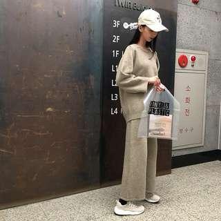 Dec.iwhere 休閒 針織 韓國 套裝 褲子+上衣