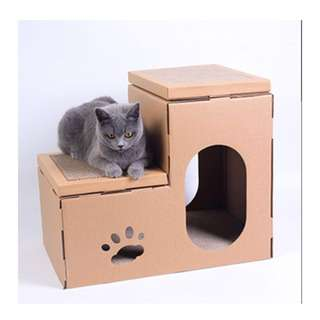 Cat Condo with Scratching Board (single tier)