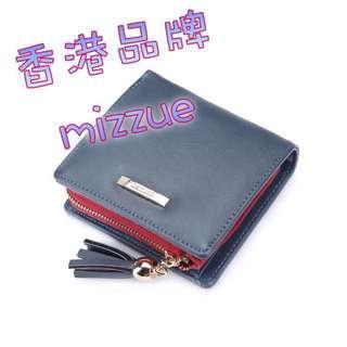 香港品牌MIZZUE墨藍色方形拼色銀包 ~最後一個 👝
