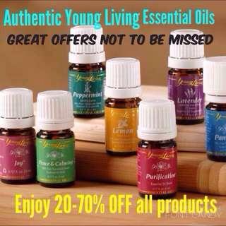 Authentic Young Living Essential Oils: Lavender; Peppermint; Lemon; Lemongrass ; Cedarwood; RC; Thieves; Eucalyptus Radiata;Purification; Stress Away; Peace And Calming; Gentle Baby; Tea Tree