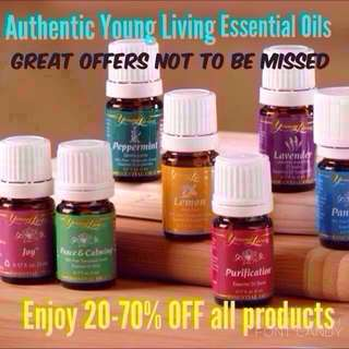 Authentic Young Living Essential Oils- peppermint, lavender, lemon, RC, Thieves, copaiba, lemongrass, Cedarwood, purification, orange, frankincense, panaway, valor, gentle baby, peace & calming, eucalyptus radiata, tea tree and many others