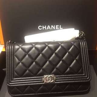 全新現貨~  Chanel Boy WOC 黑色羊皮復古銀扣