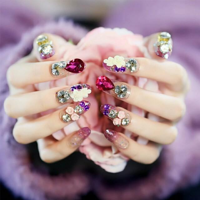 24pcsset full rhinestone bride nail art design long round head photo photo prinsesfo Choice Image