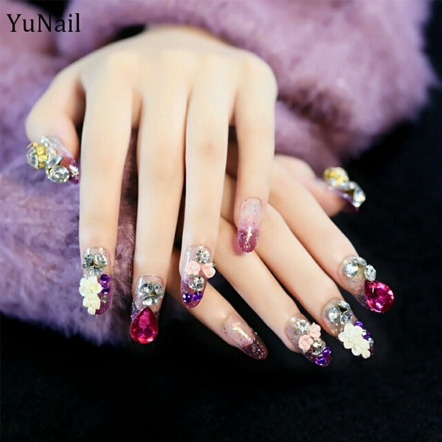 24pcs/Set Full Rhinestone Bride Nail Art Design Long Round Head ...