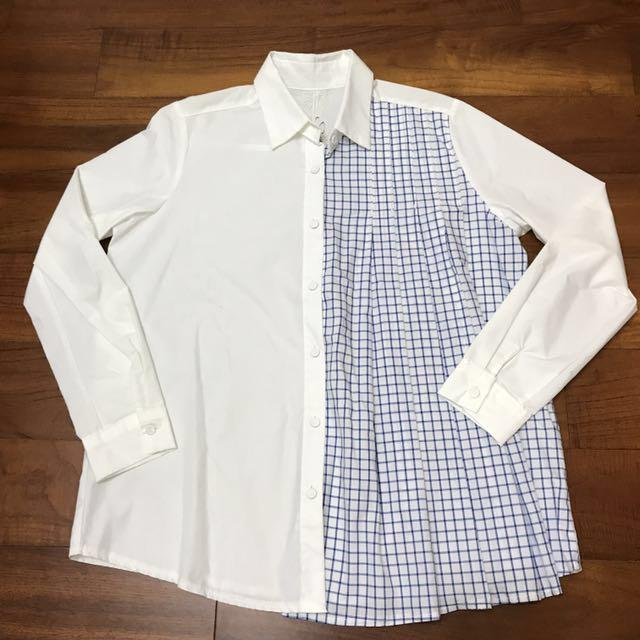[全新正韓製]東區$2680購入不對稱設計白/藍格百摺襯衫 Made in Korea