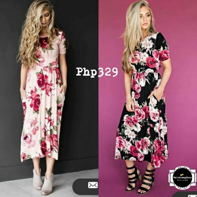 💋3D Floral Pocket Long Dress