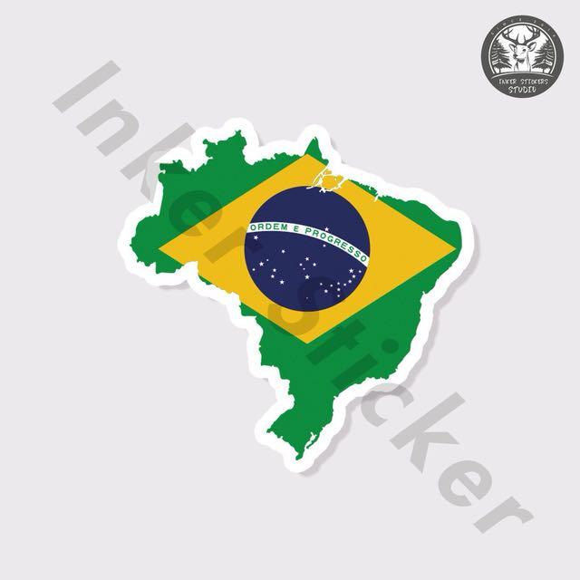 【行李箱防水貼紙】 #020 巴西 國旗 國家 旅遊 地圖