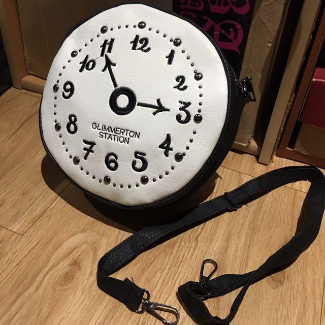 童趣時鐘圖案側背包
