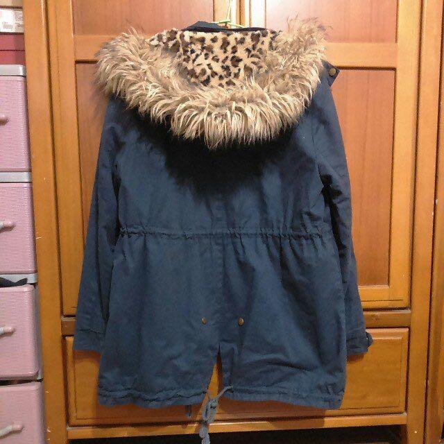 保暖豹紋鋪毛內裡深藍色連帽風衣外套