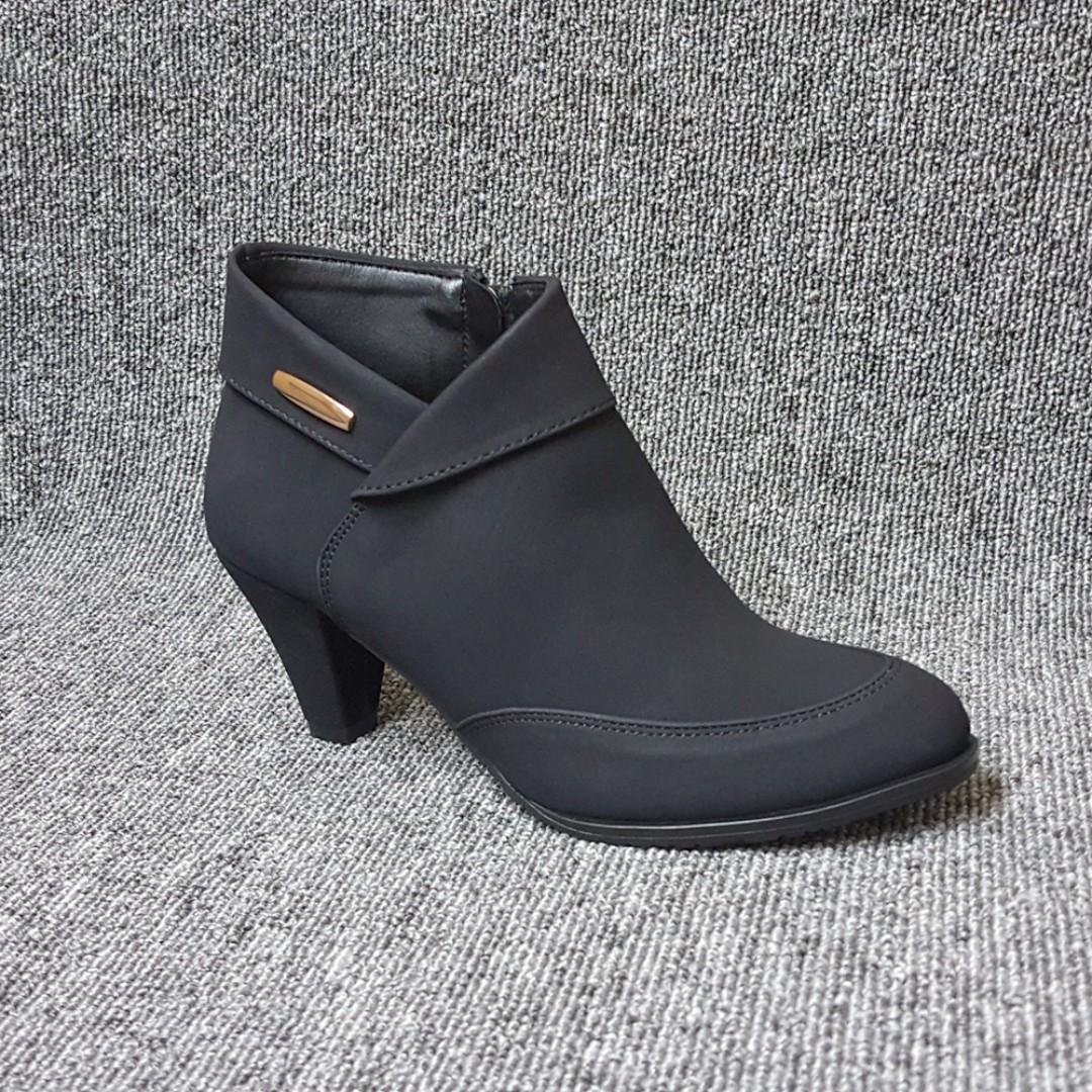 內折淑女拼接質感小短靴-踝靴