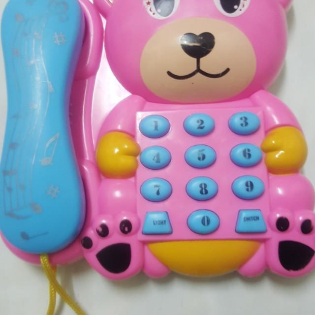 粉紅小熊電話聲光音樂玩具