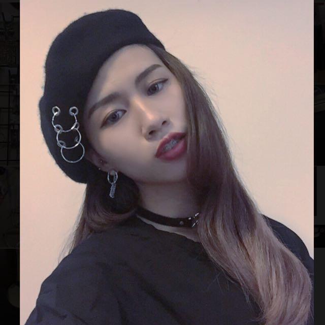 雙愛心脖鍊/圓環鐵鍊耳環/三圓環貝蕾帽