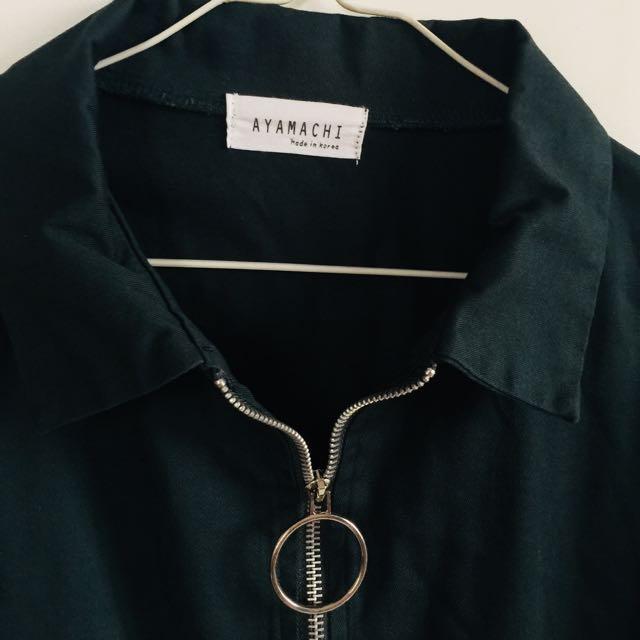 墨綠 圓圈拉鍊 外套