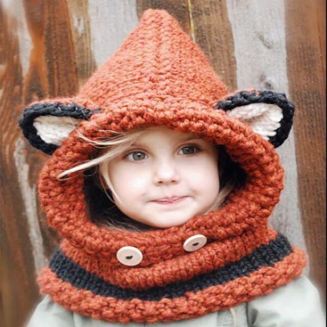 🇺🇸 歐美動物毛線帽圍脖套組 兒童毛帽