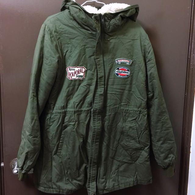 長版厚棉保暖軍綠色連帽外套 厚外套 長版外套 連帽外套