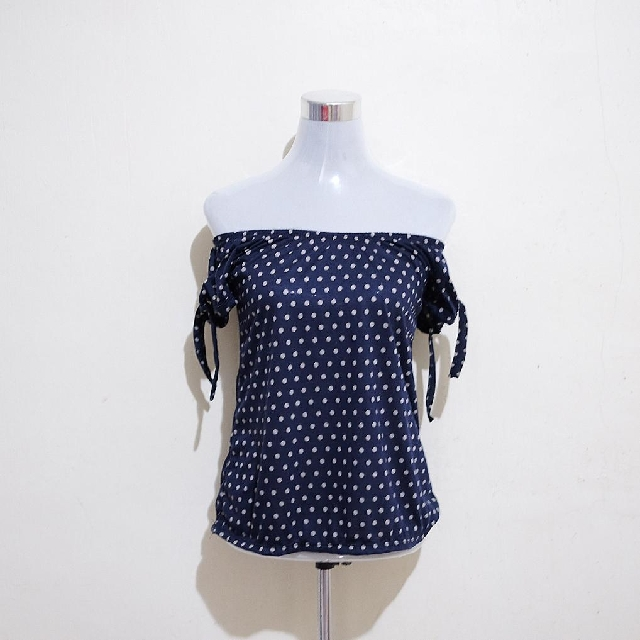 🍃 Polka Navy Blue & Taupe Top