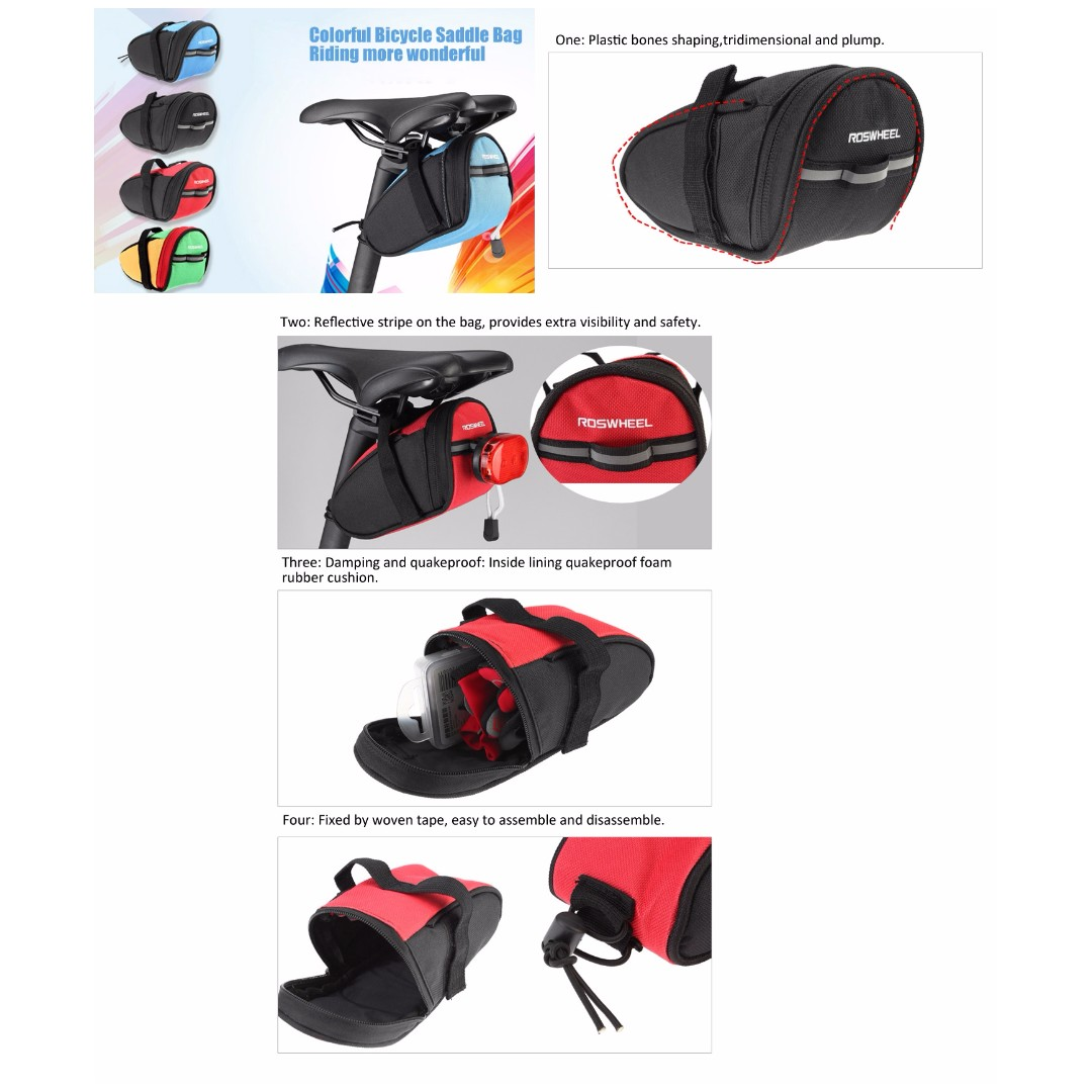 💯 Roswheel 13567 Bike Bicycle Cycling Saddle Bag Rear Tail Back Seat Pouch Bag, Bicycles & PMDs, Bicycles on Carousell