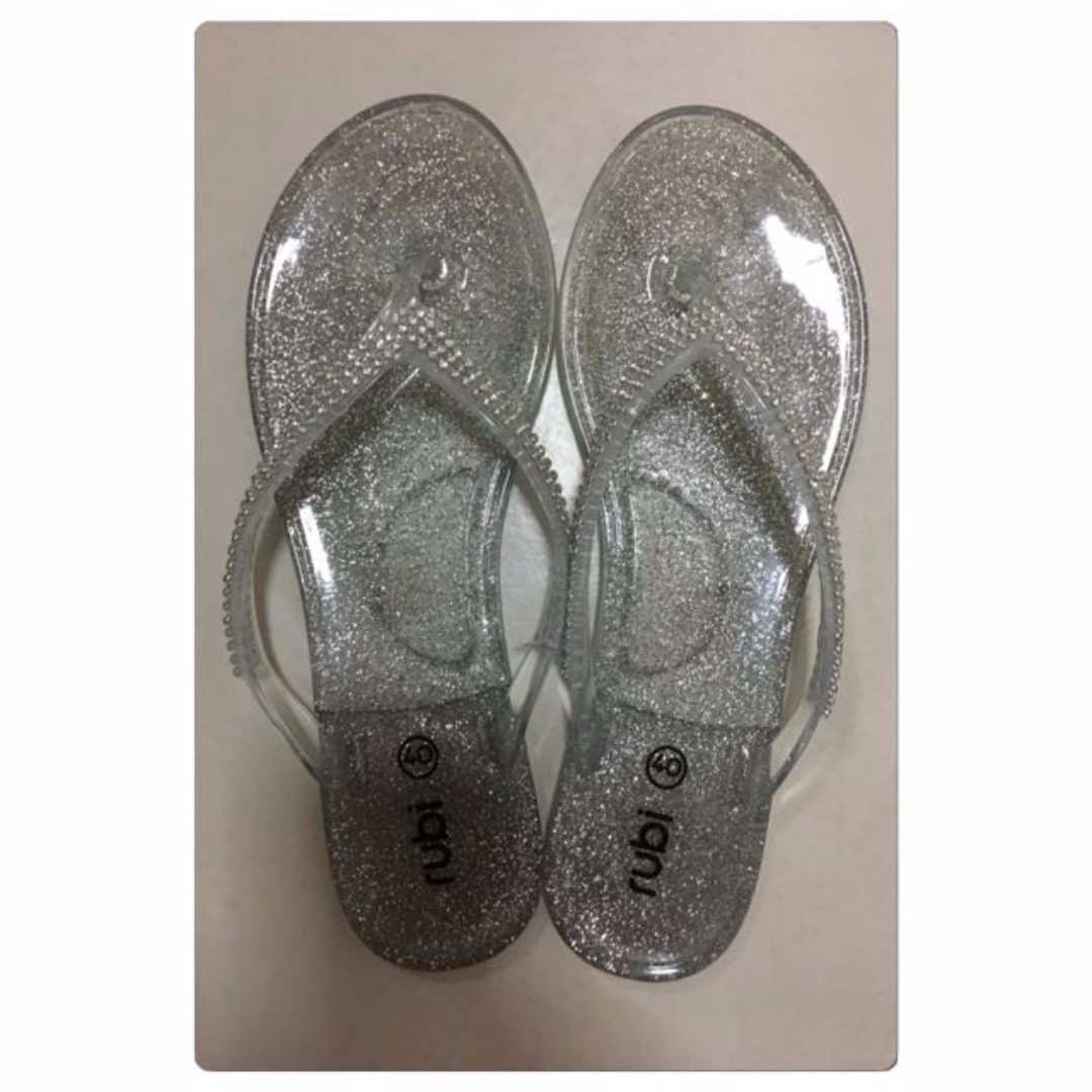 AMOST NEW - Cotton On / Rubi Sliver Bling Crystals Jellies Flats Slippers