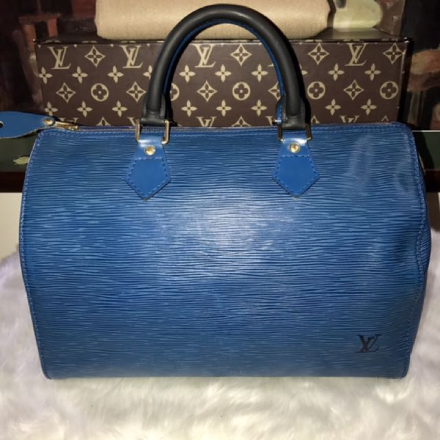 Authentic Vintage Louis Vuitton Epi Leather Speedy 30 Black/Blue Bicolored