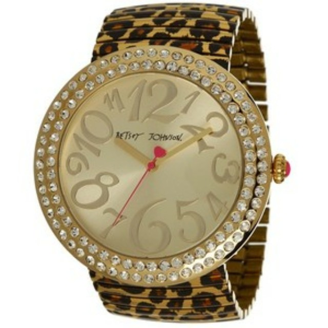 Betsy Johnson leopard print stretch band watch
