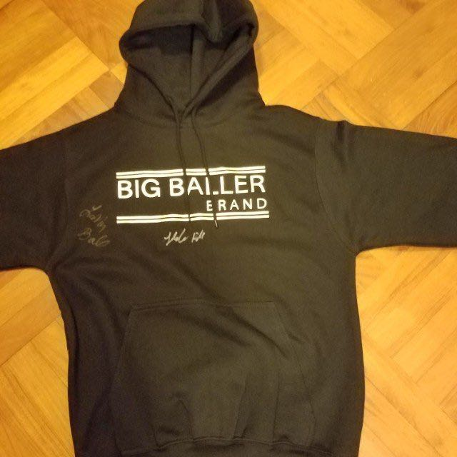 88587bc48 Big baller brand BBB hoodie signed by lamelo ball and lavar ball size S  medium black and gold on Carousell