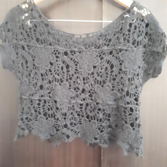 Black floral lace crochet crop top