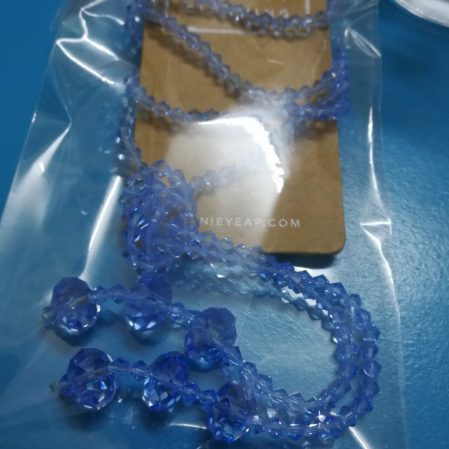 Blue beads long necklace