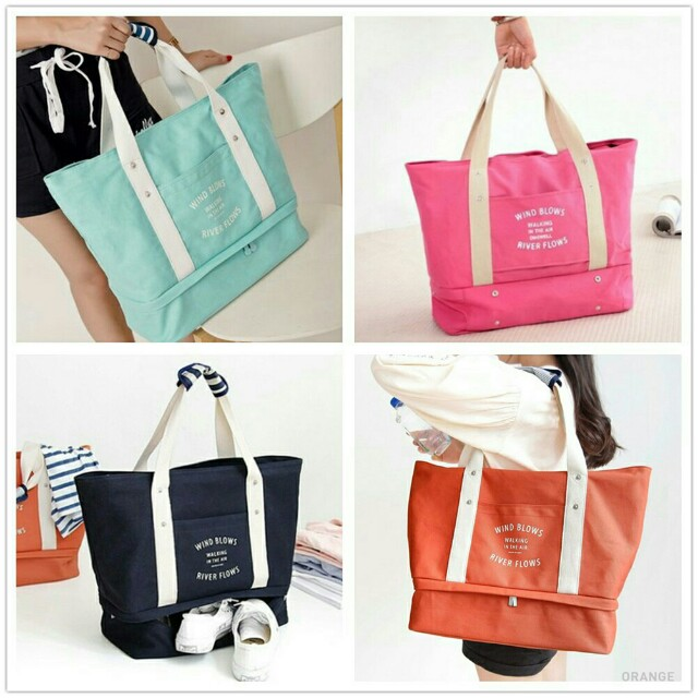 Blue Green Canvas tote bag