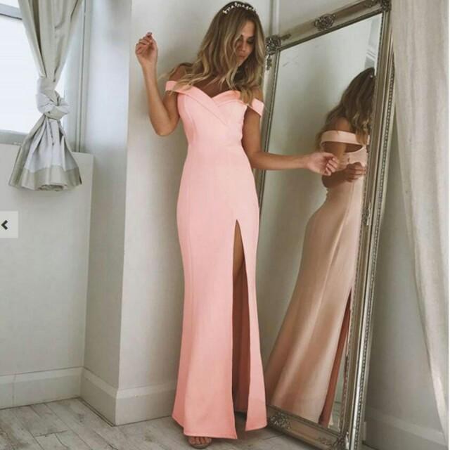 ebf78ef2f3 BN Off Shoulder Baby Pink Maxi Dress