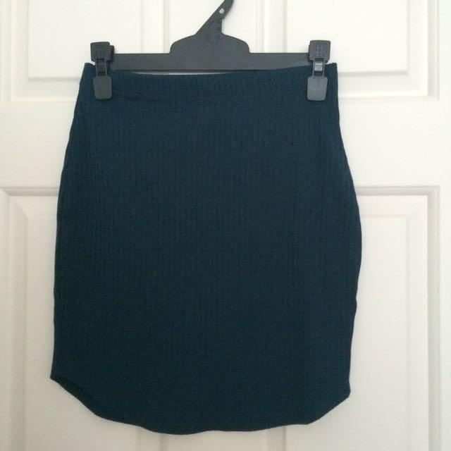 BNWOT Dark green real mini skirt size XS
