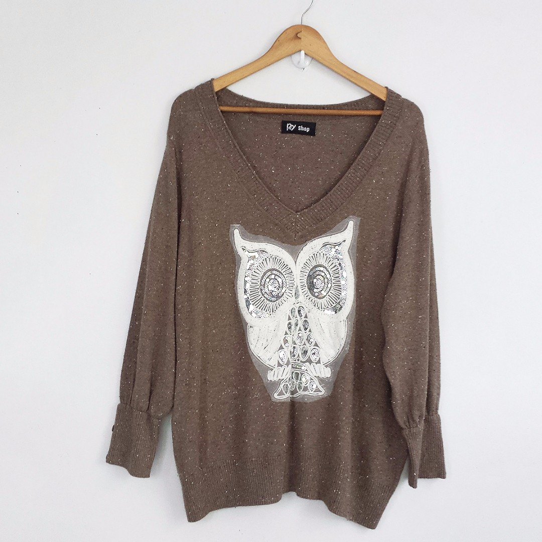 Brown Oversized Owl V-Neck Sweater Jumper Top Blouse, Preloved ...