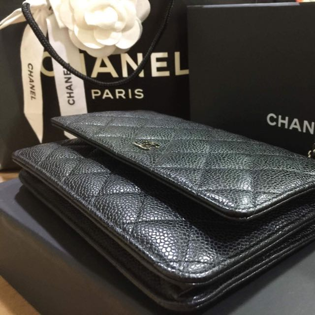 Chanel WOC 黑荔枝皮銀鍊