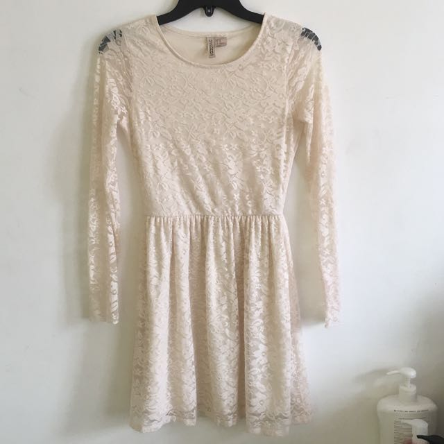 Cream / beige Divided by H&M lace flowy dress