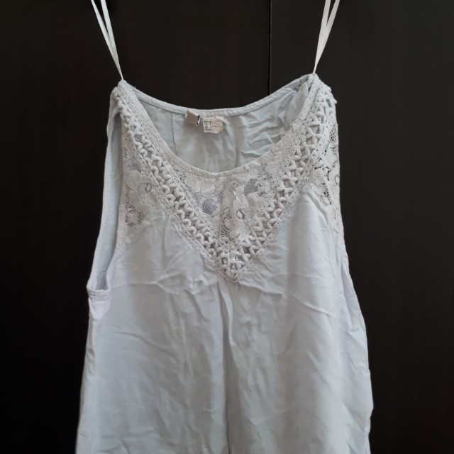Divided by H&M light pastel blue embroidered top