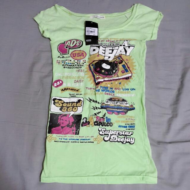 正韓螢光綠DJ唱片爆裂造型短袖T恤 全新 專櫃 韓製